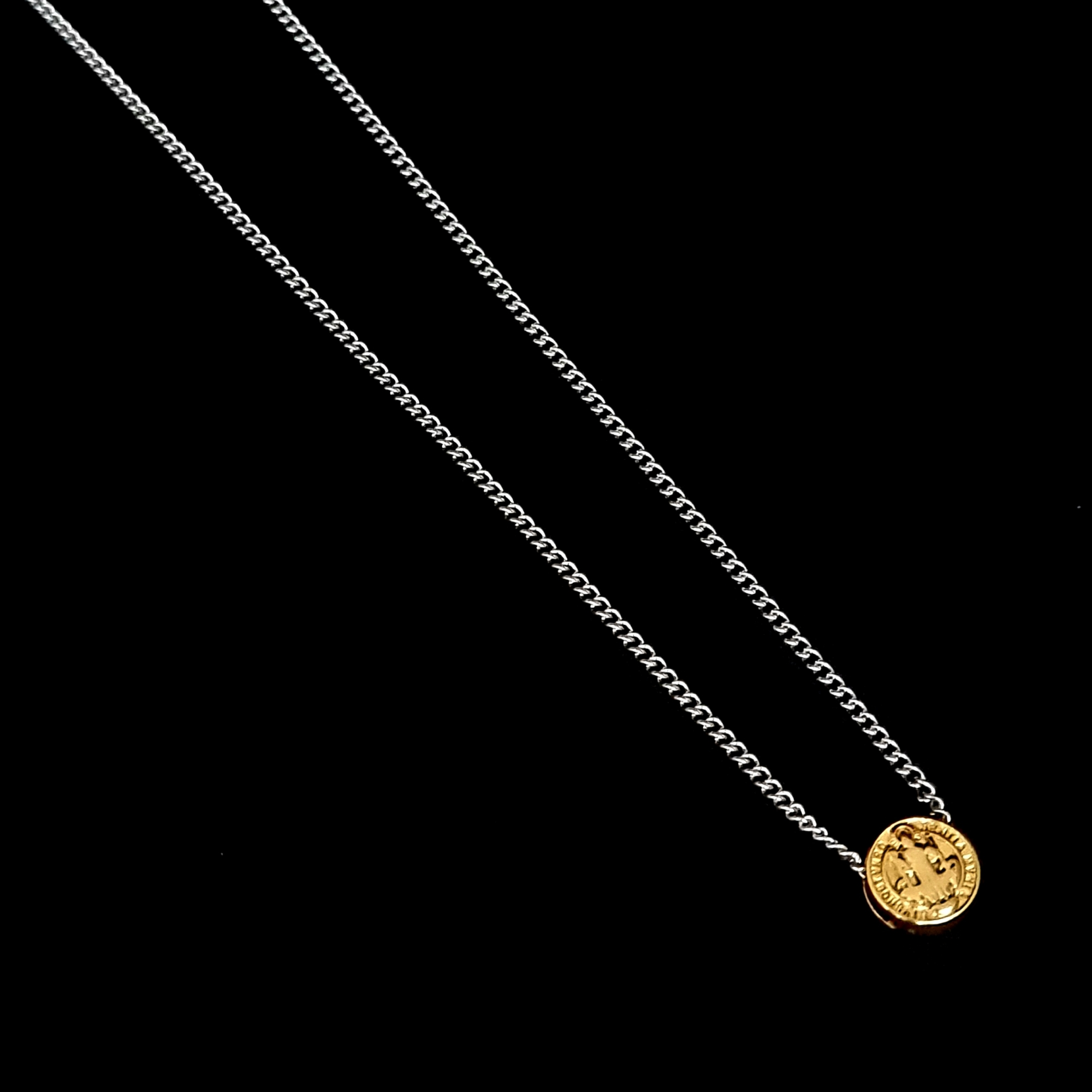 Escapulário Corrente Aço Inox São Bento Gold Silver