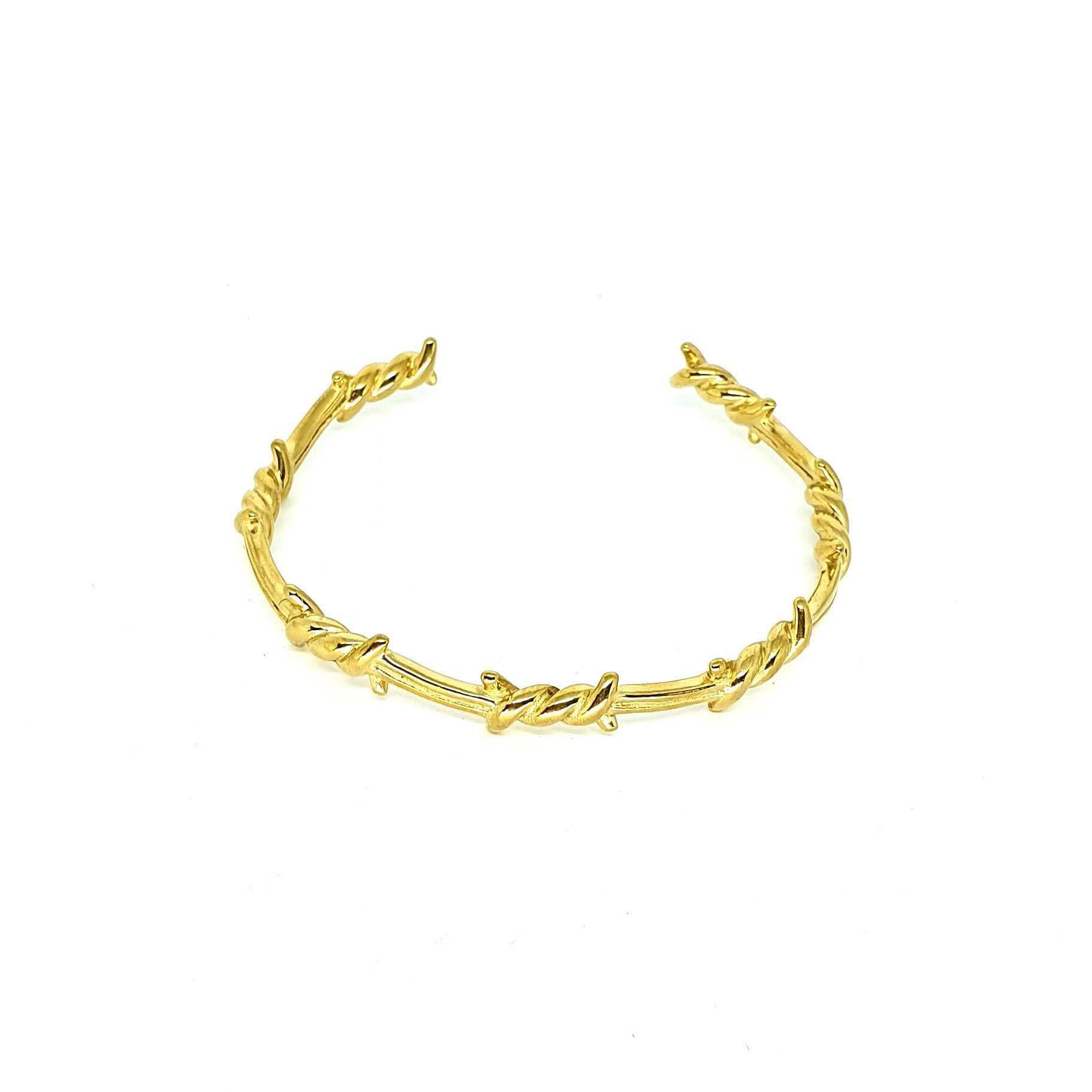 Pulseira Aço Inox Arame Farpado Gold