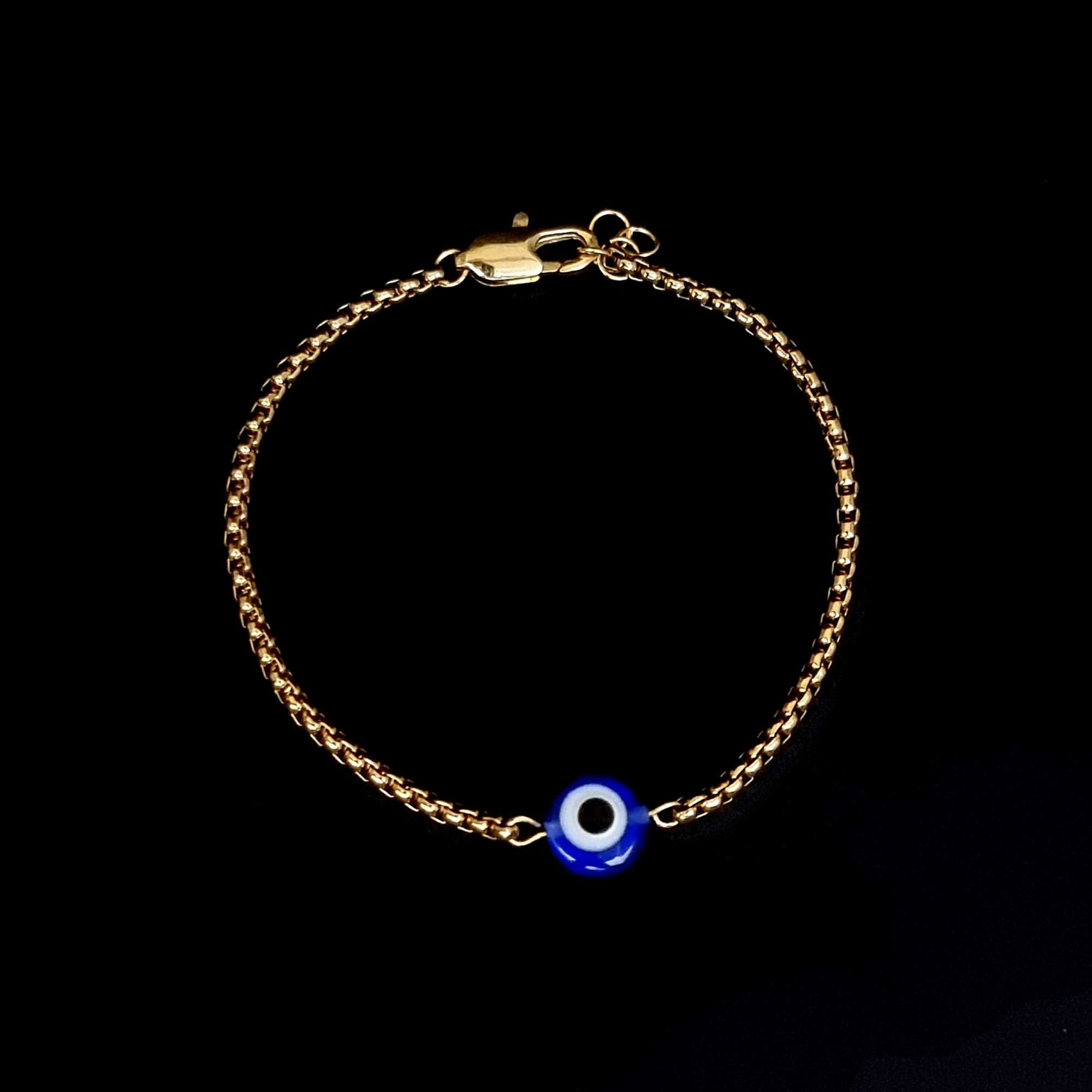 Pulseira Aço Inox Solitário Olho Grego Gold