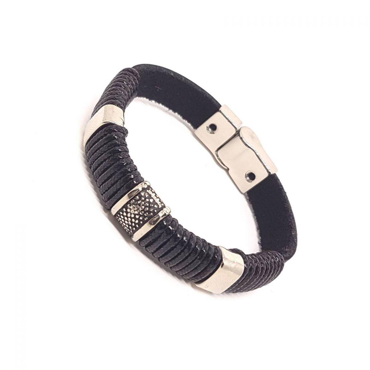 Pulseira de Couro Natural Bracelete Preto