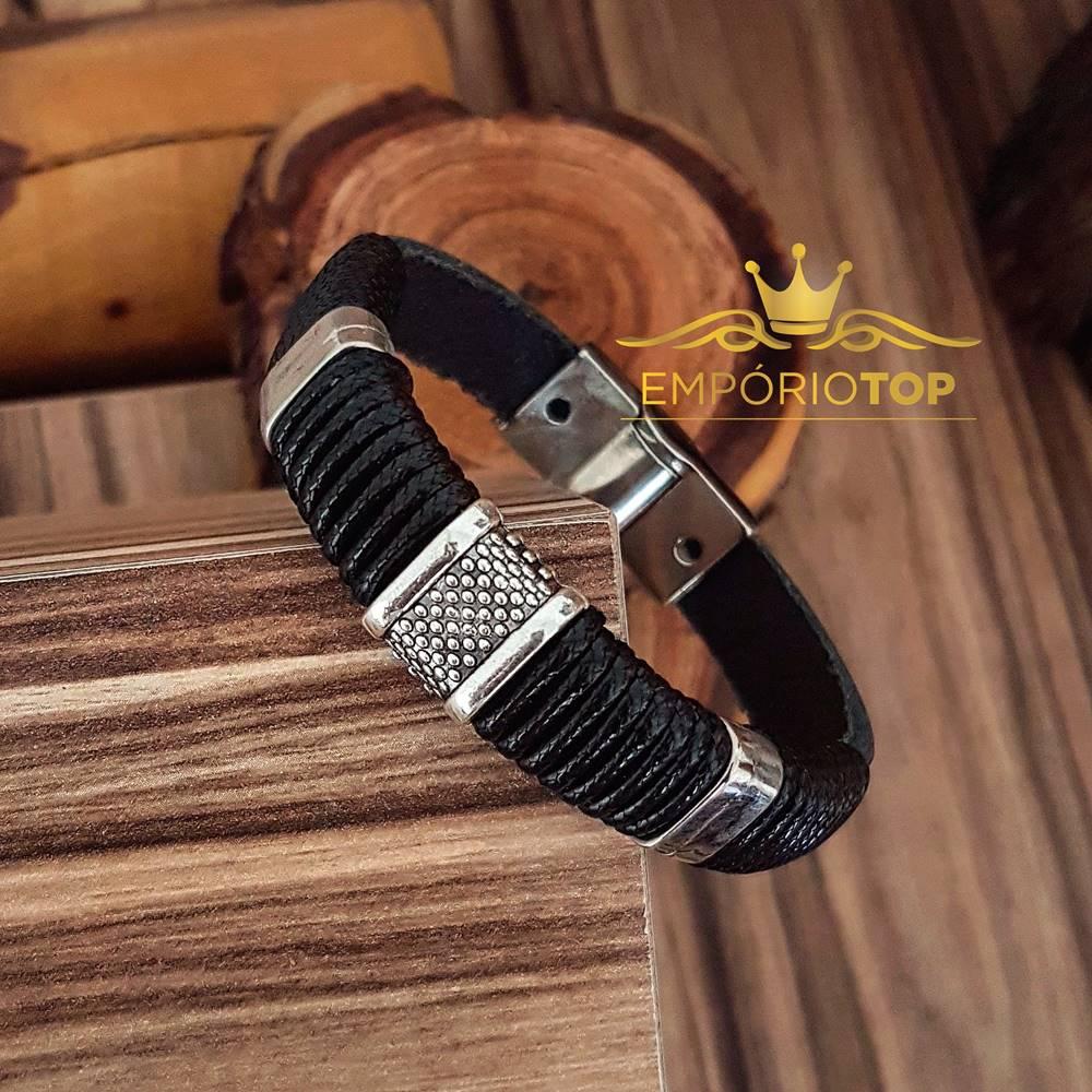 Pulseira De Couro Natural Preto Bracelete