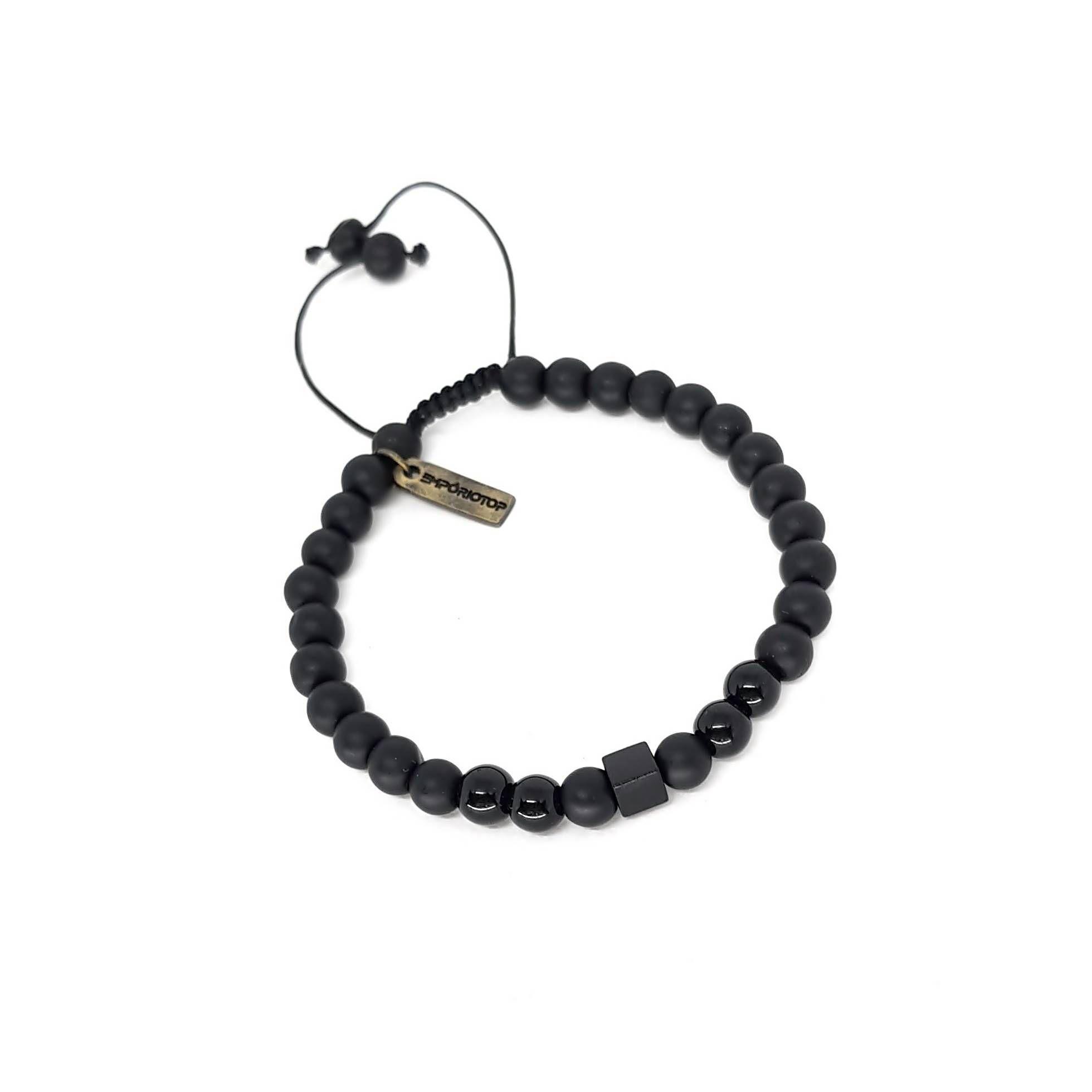 Pulseira de Pedra Ajustável Black Series Matte Quadrado