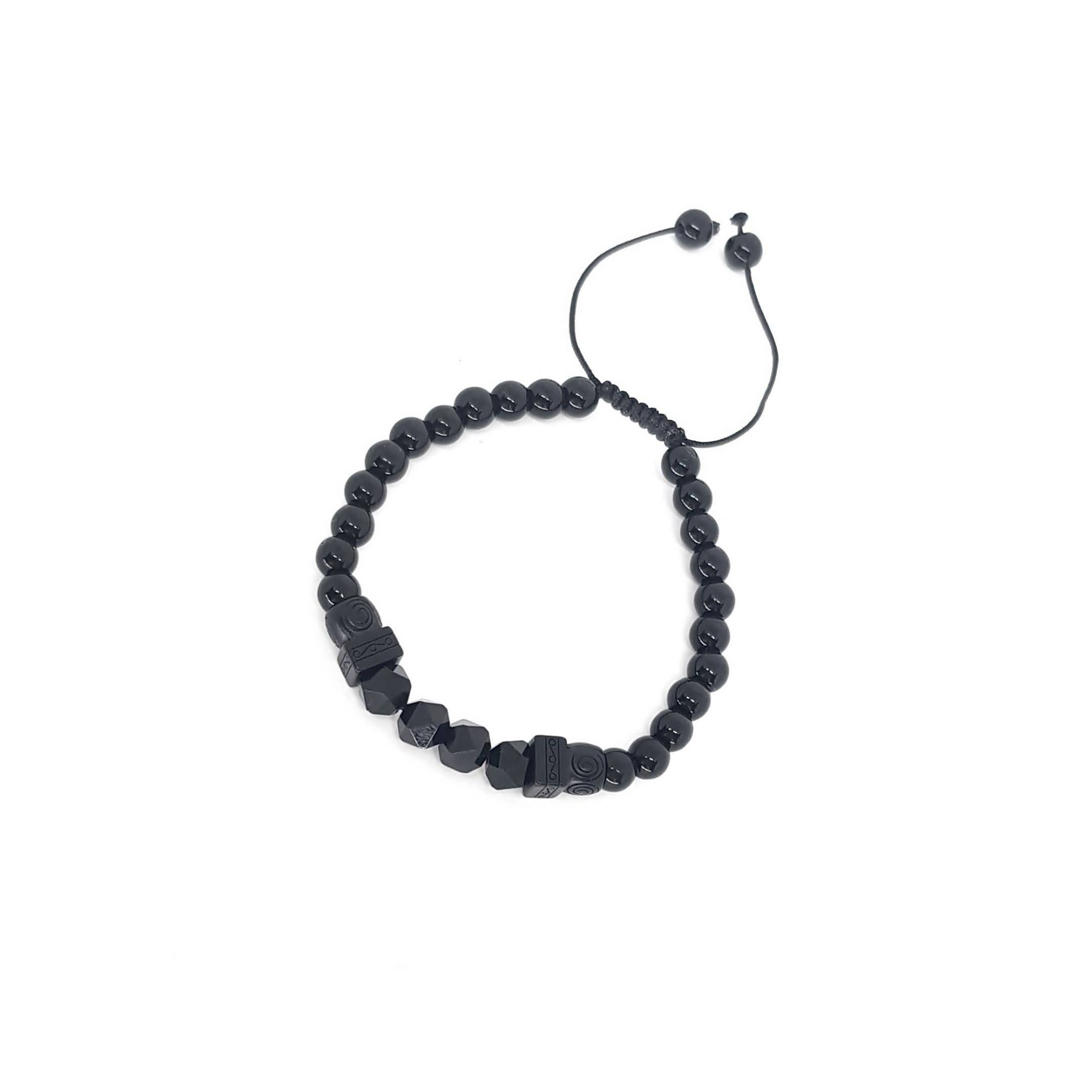 Pulseira de Pedra Ajustável Black Series Onix facetada
