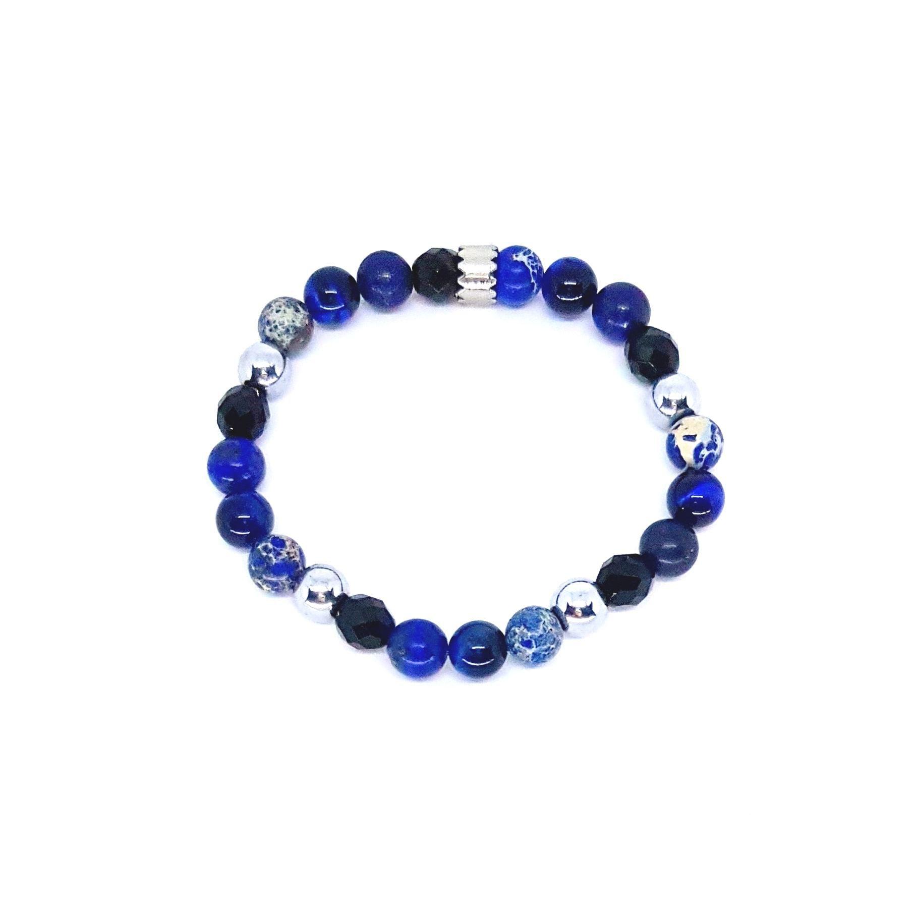 Pulseira de Pedra Mix Azul e Preto