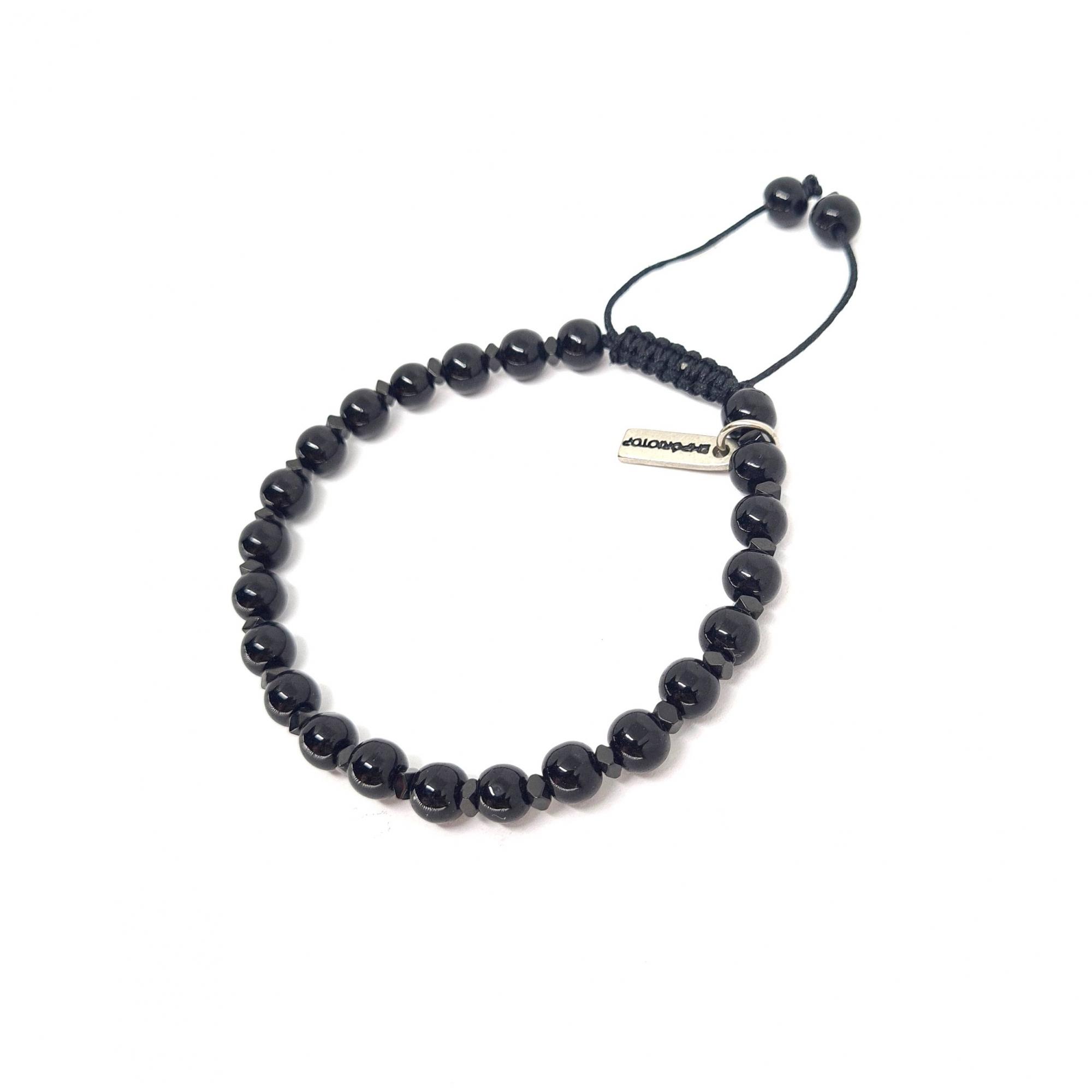 Pulseira de Pedras Inox Faceted Black