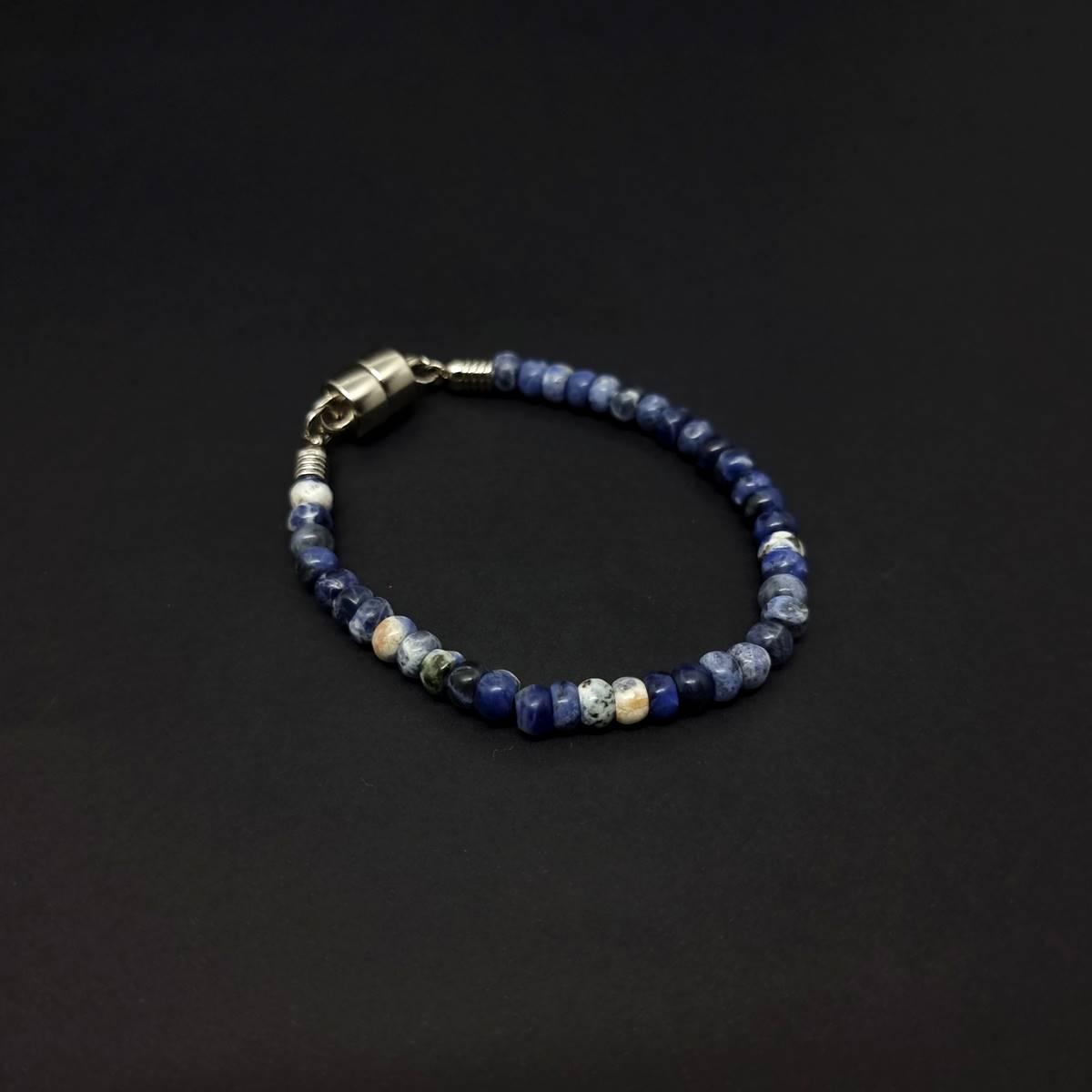 Pulseira de Pedras Naturais Discus Magnet Azul