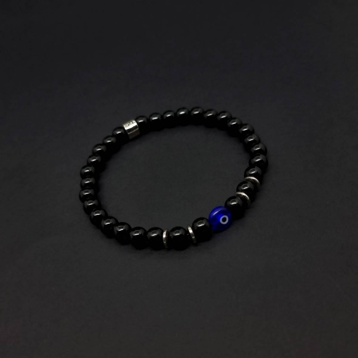 Pulseira de Pedras Onix Olho Grego Azul