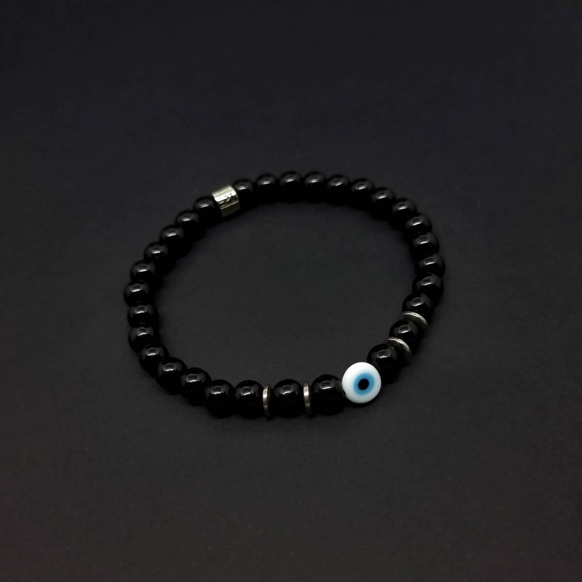 Pulseira de Pedras Onix Olho Grego Branco
