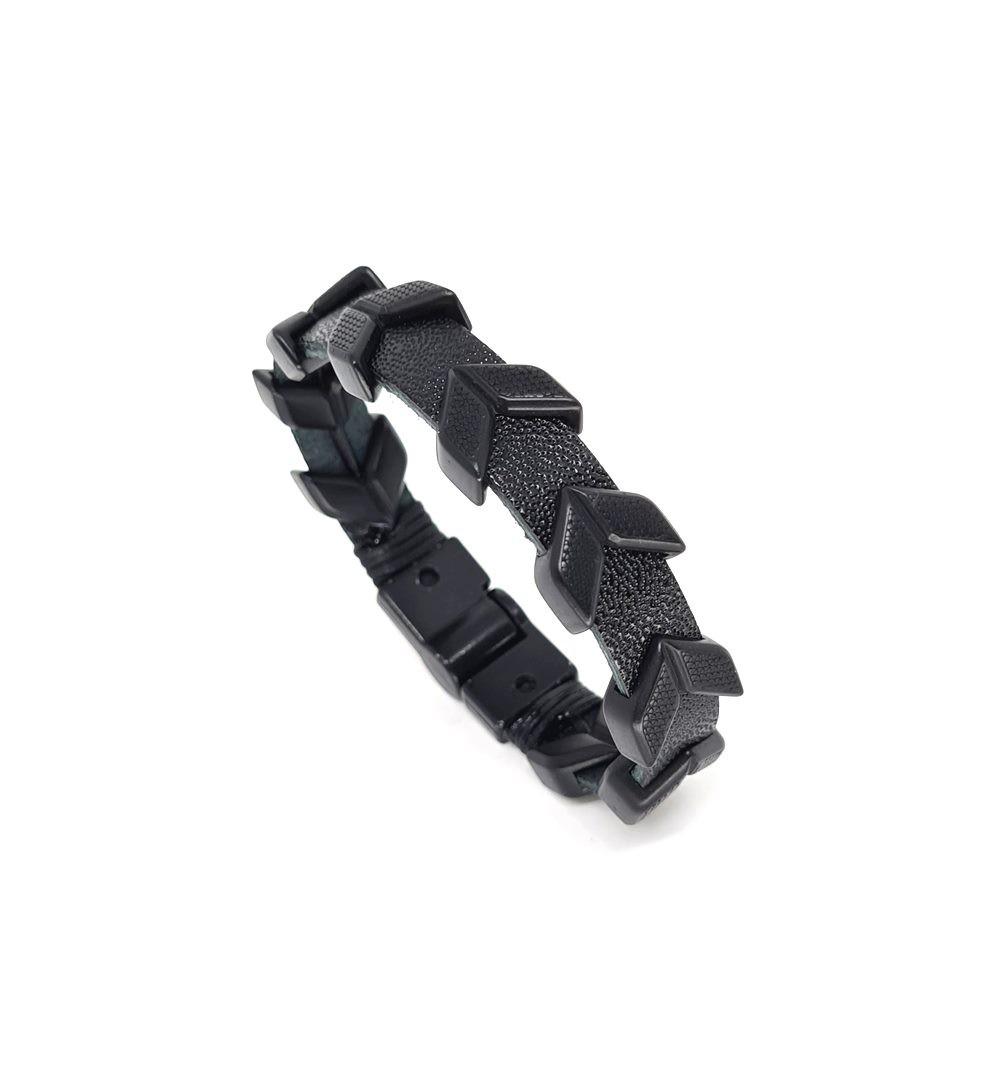 Pulseira Emporio Top de Couro Black Series Arrow