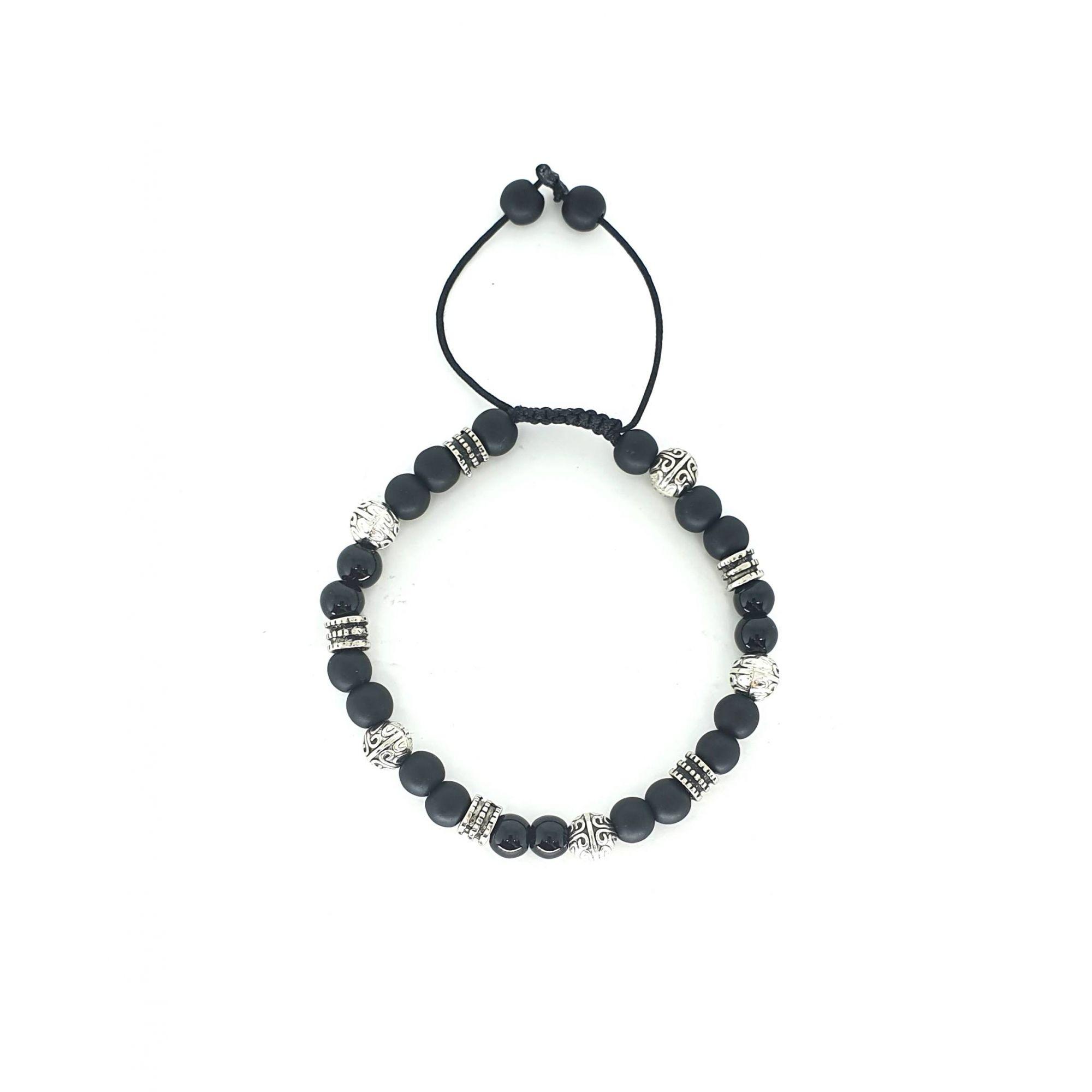 Pulseira Emporio Top de Pedras Black And Silver Fosca