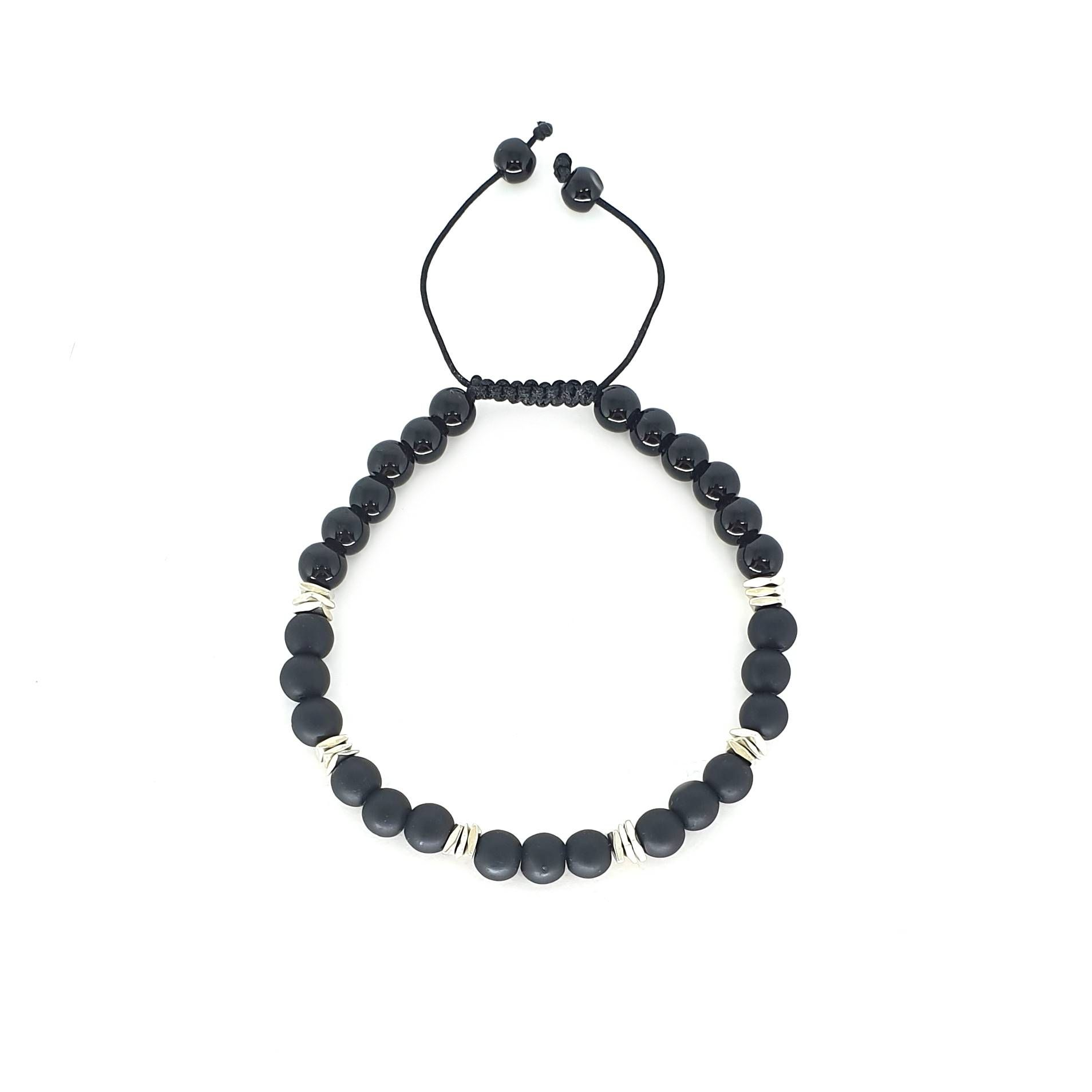 Pulseira Emporio Top de Pedras Black And Silver Square