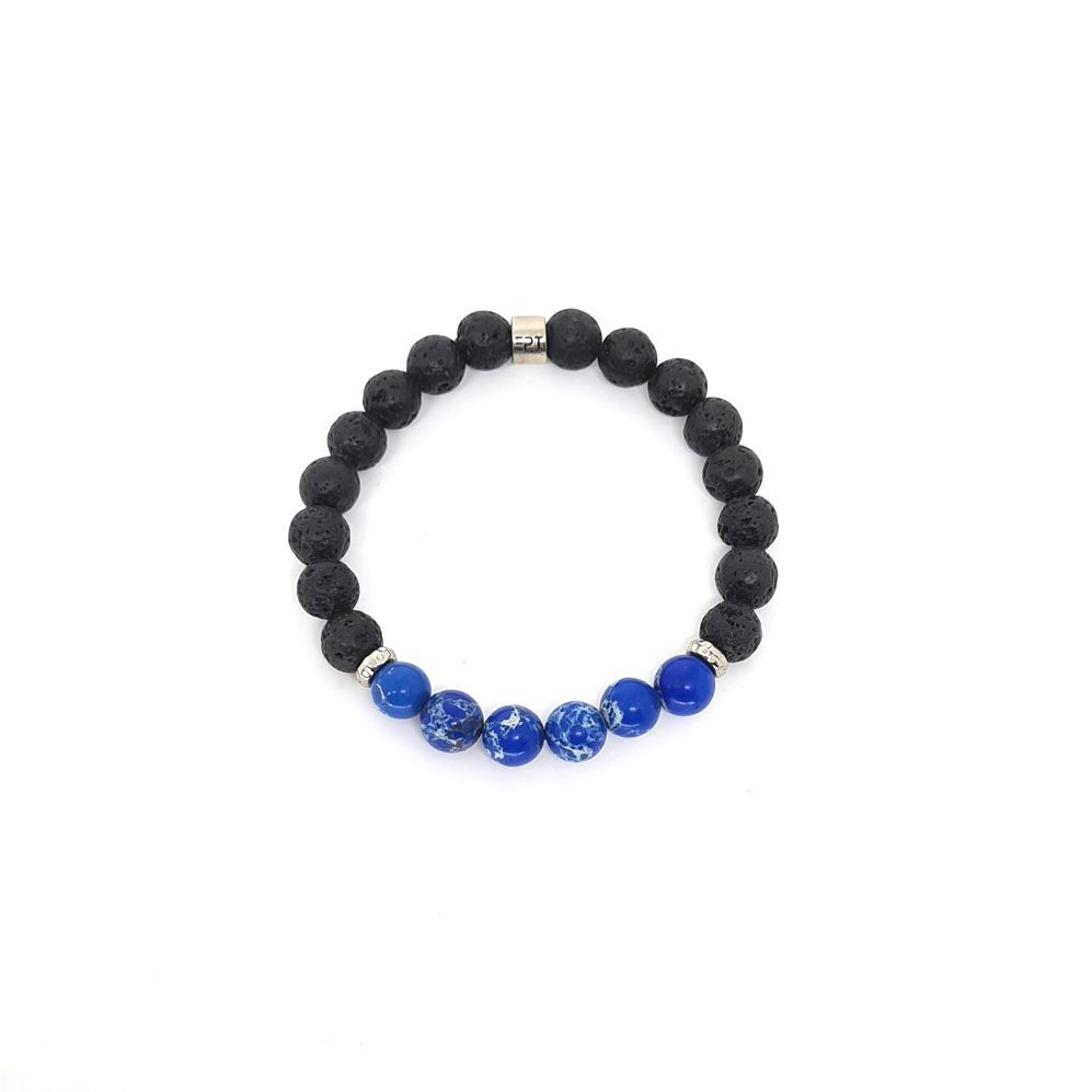 Pulseira Emporio Top de Pedras Precious Three Jasper Azul