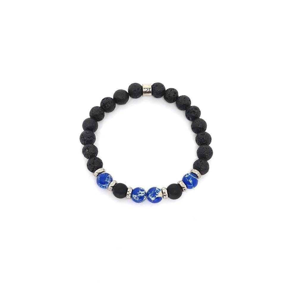 Pulseira Emporio Top de Pedras Precious Two Jasper Azul