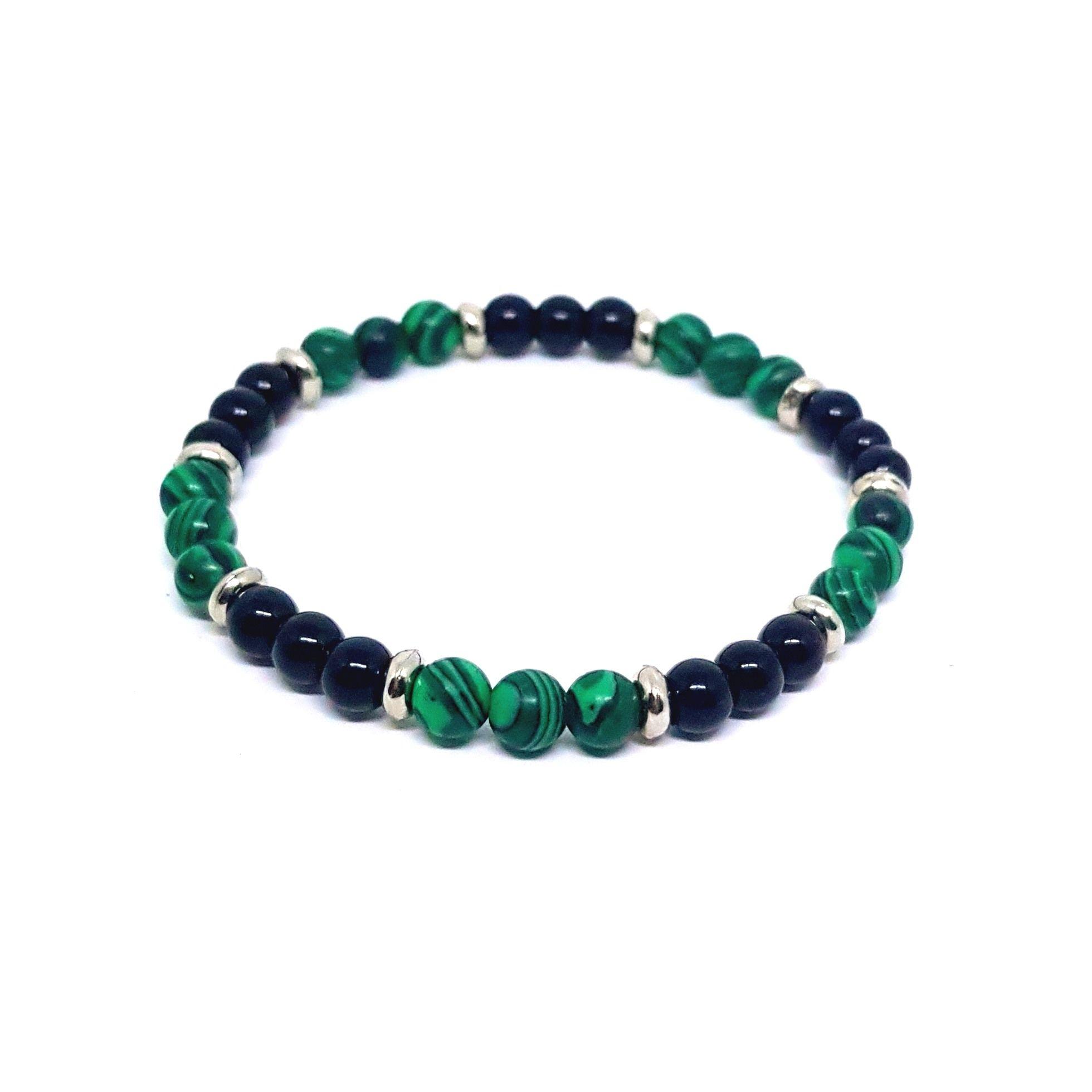 Pulseira de Pedra Preta e Verde