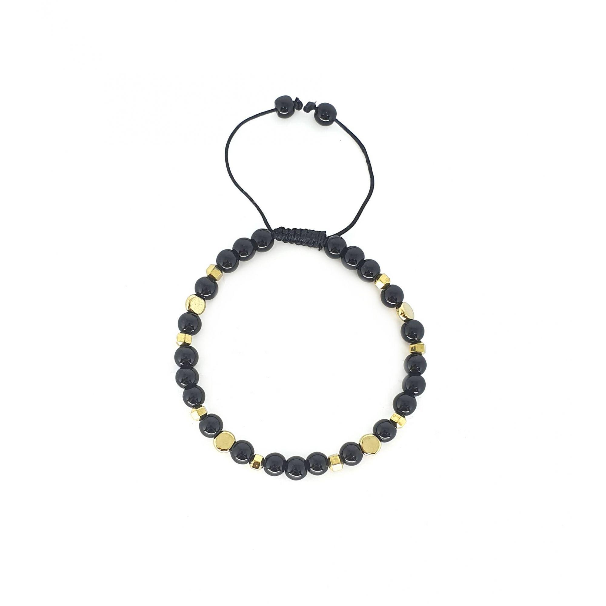 Pulseira Emporio Top de Pedras Gold And Black Circle One