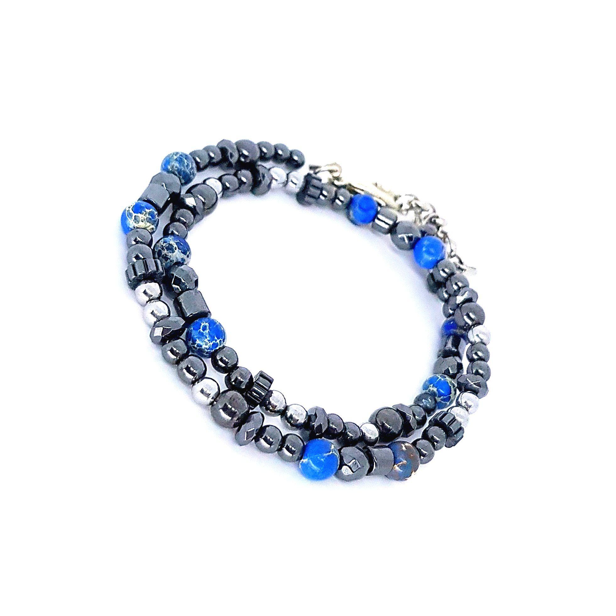 Pulseira de Pedra Grafite e Azul Dupla