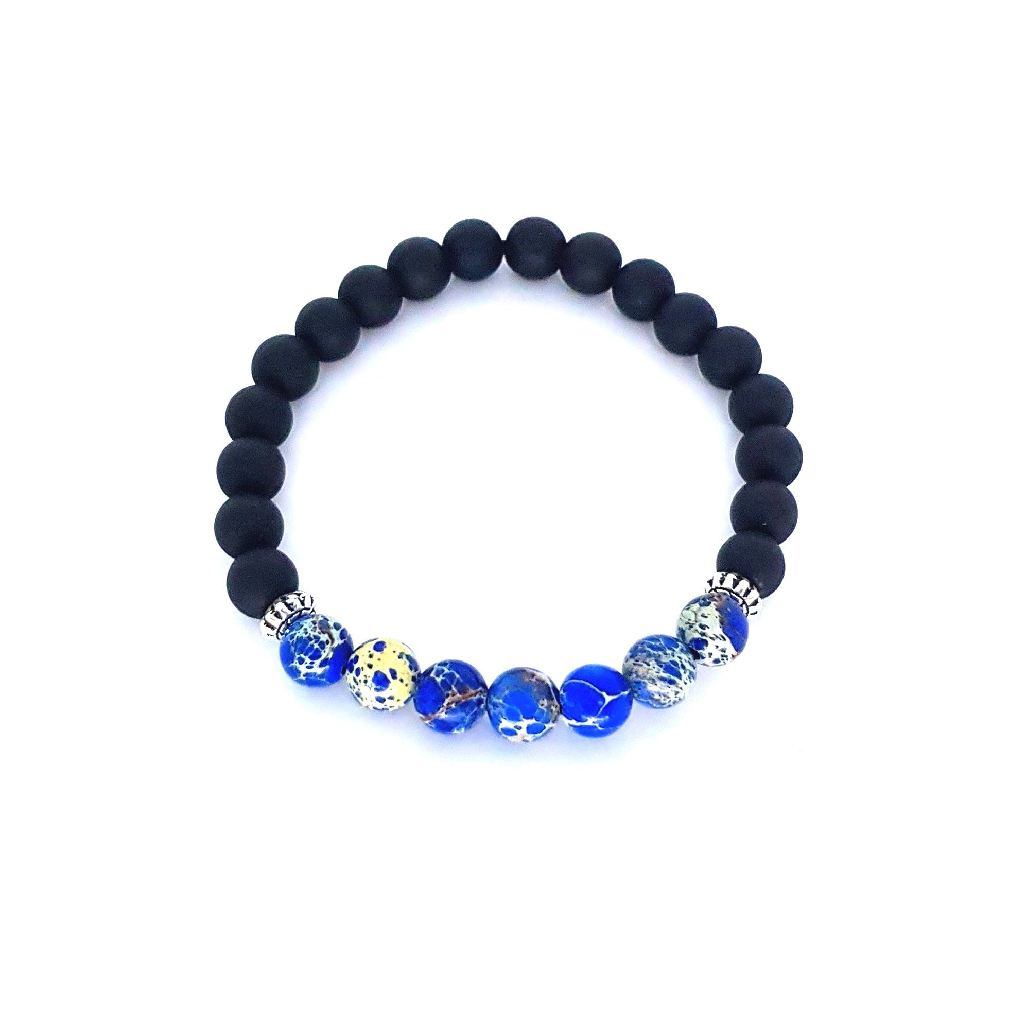 Pulseira de Pedra Fosca e Jasper Azul