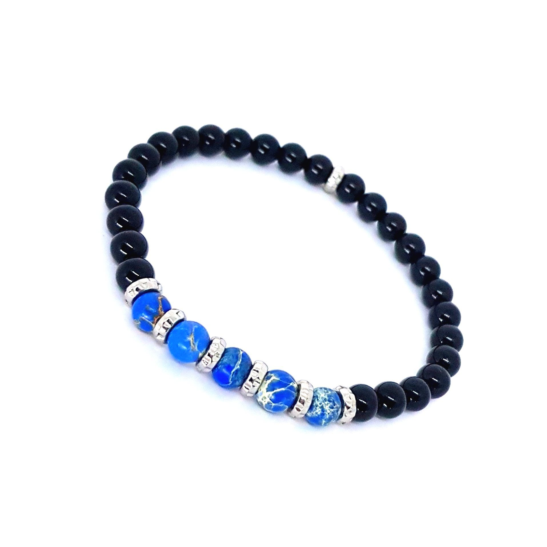Pulseira de Pedra Onix e Jasper Azul