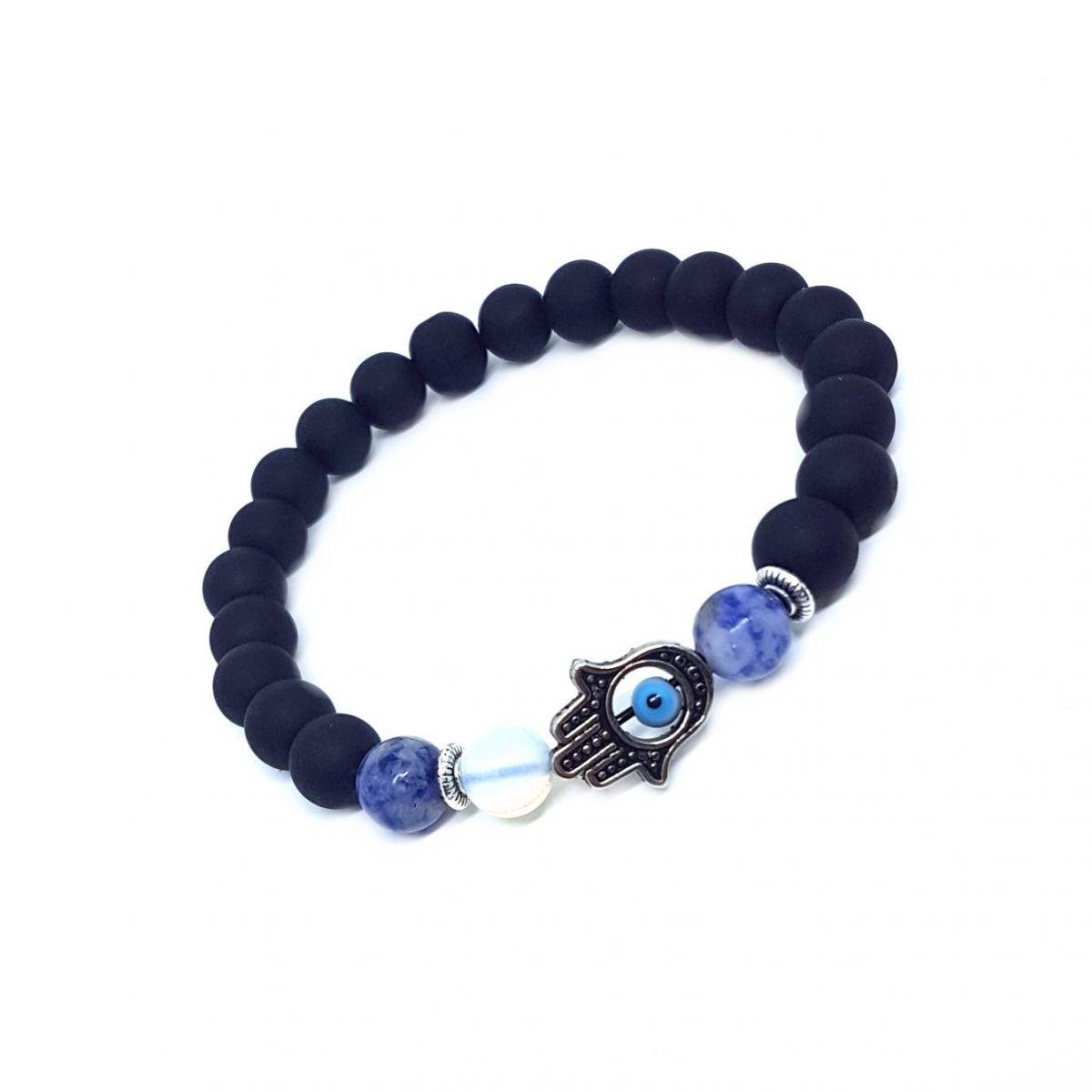 Pulseira Pedra Azul Rajada Hamsá