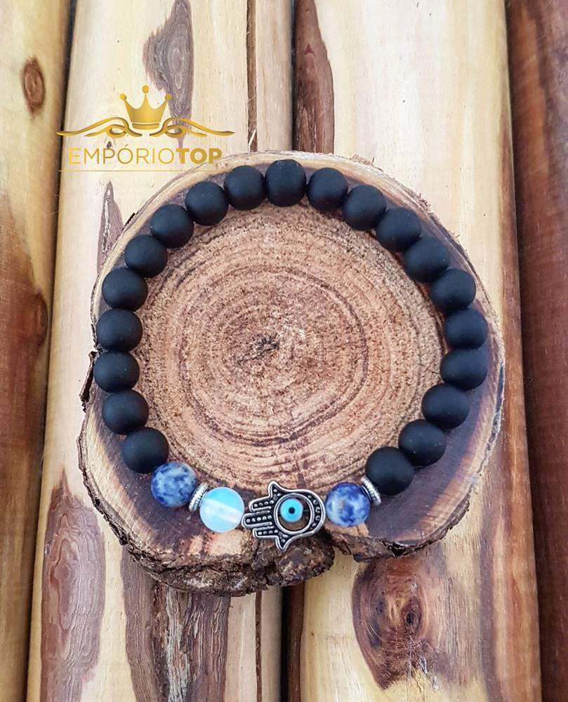 Pulseira Hamsá Pedra Natural Azul Rajada