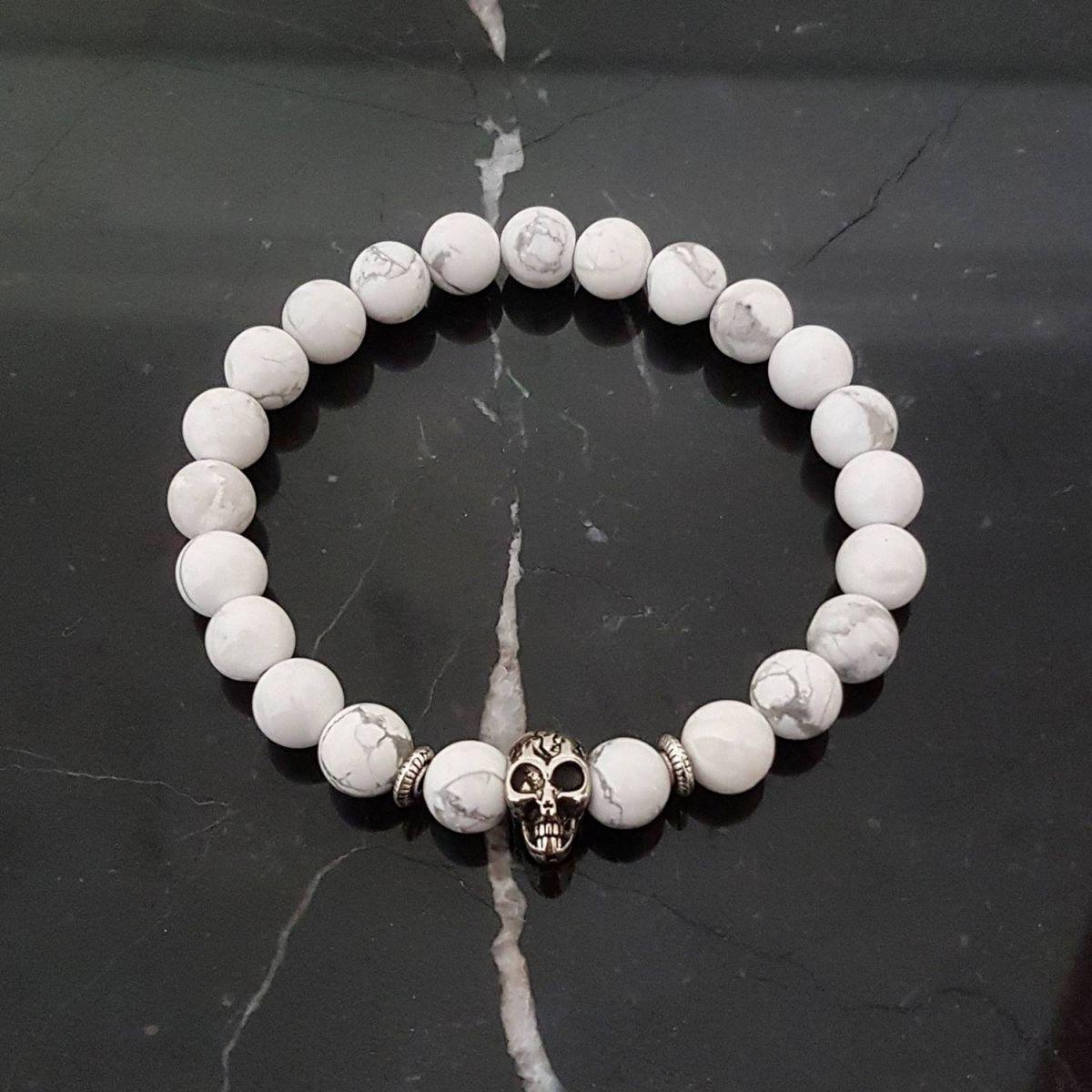Pulseira Pedra Marmore Branco Skull
