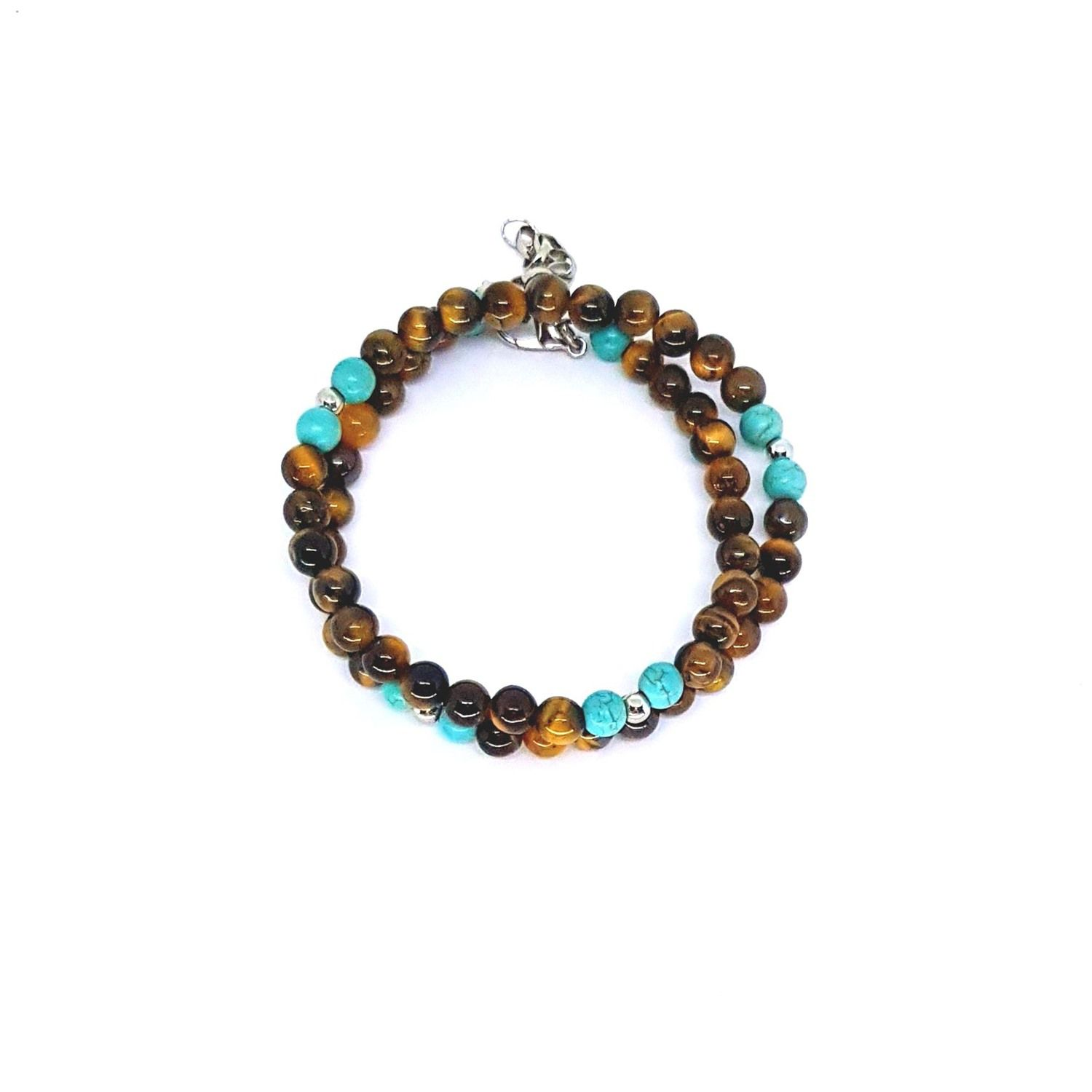 Pulseira Pedra Natural Brown And Turquoise