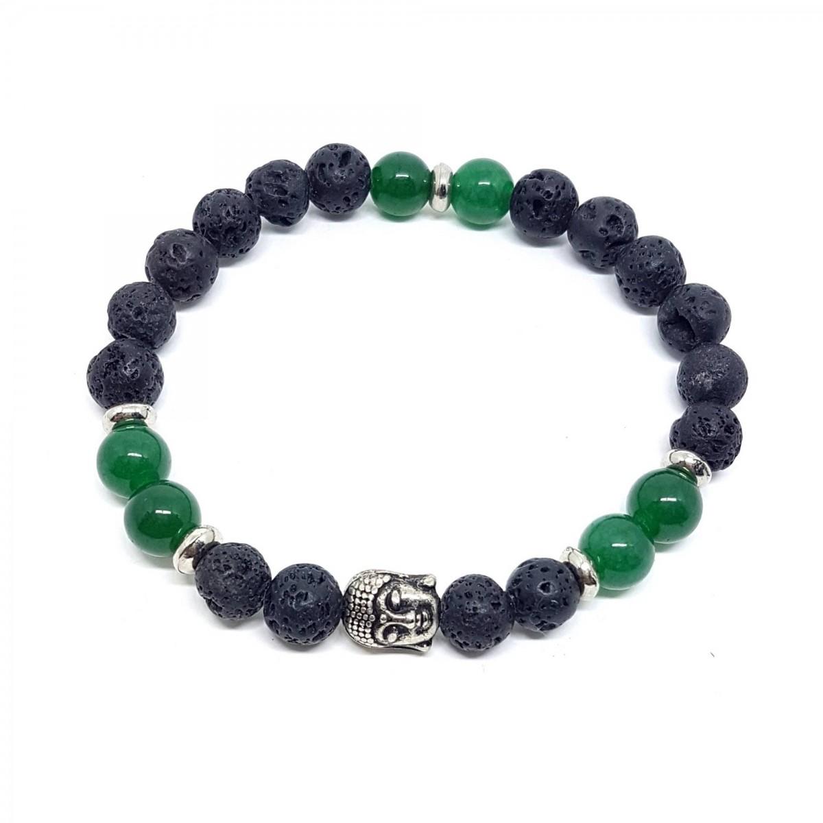 Pulseira Pedra Preta e Verde Buda