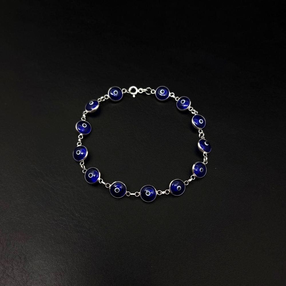Pulseira Prata 925 - Olho Grego Azul