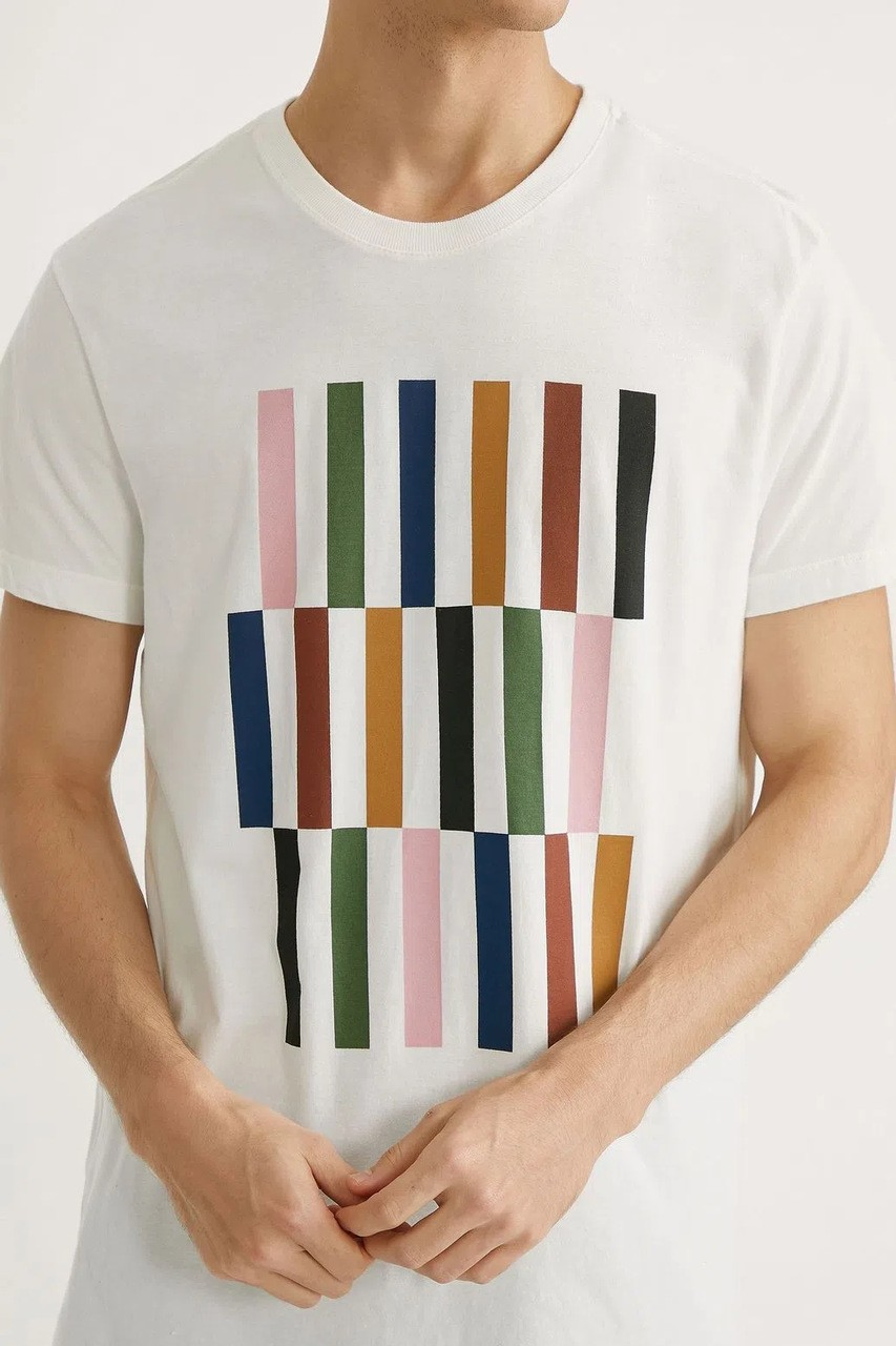 T-shirt Foxton Color Block - Branco