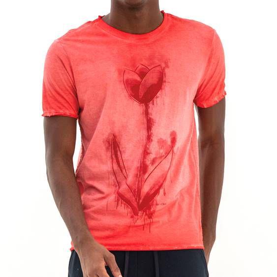 T-shirt Von Der Volke Dupla Face Tulpen - Vermelha
