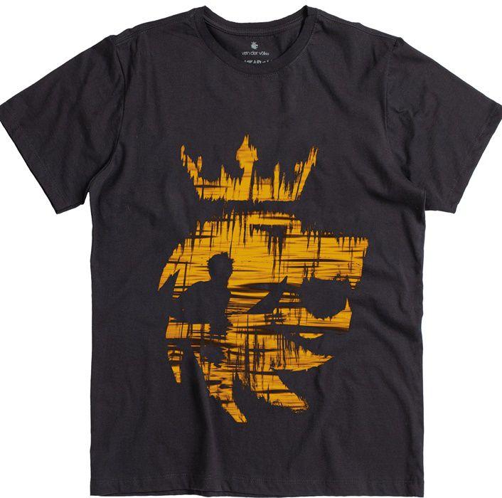 T-shirt Von Der Volke Leão Com Surfista - Preta
