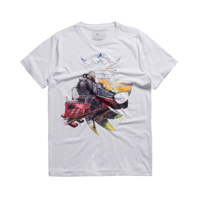 T-shirt Von Der Volke Lion Trem da Serra Branco