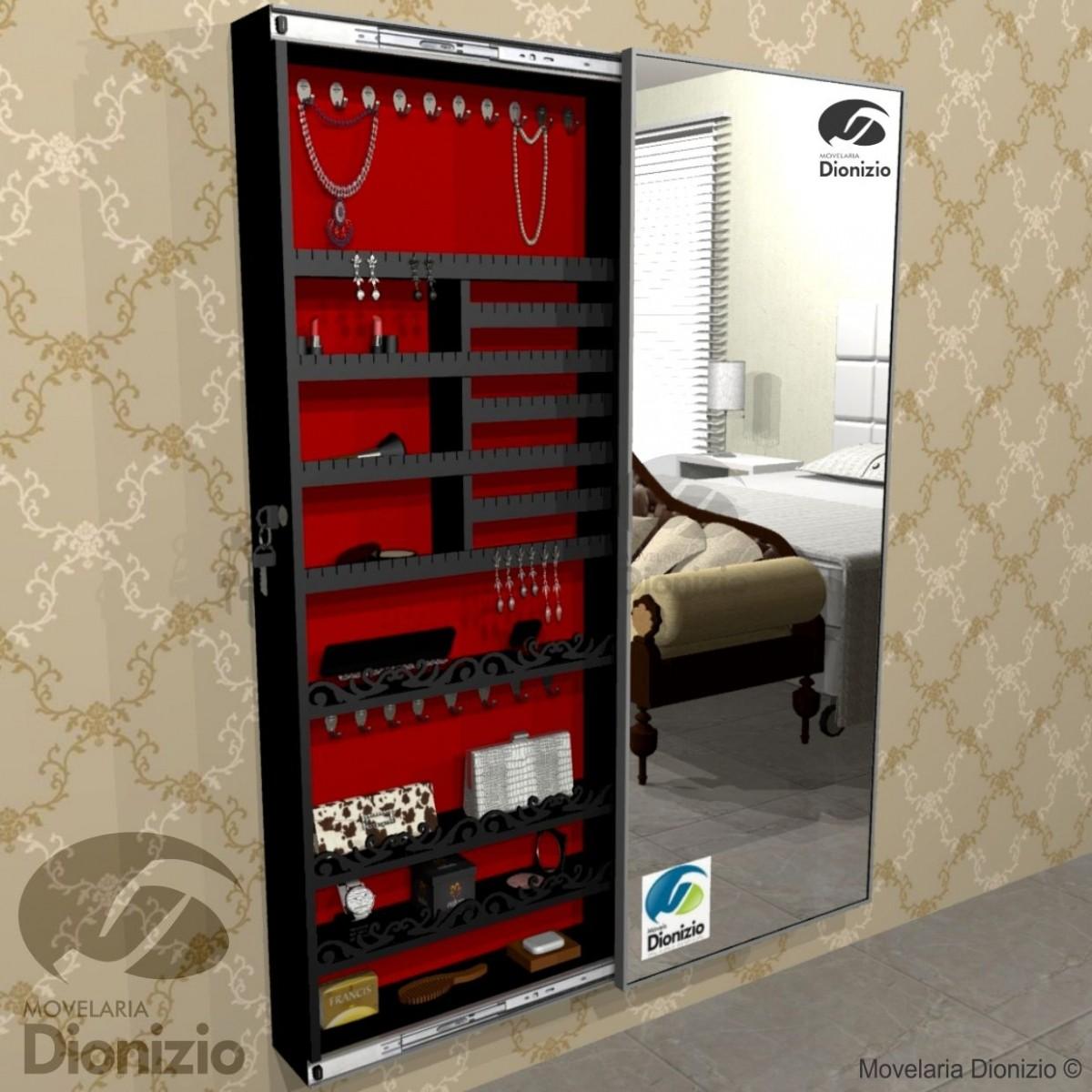 Aparador Zara Home ~ Armário Porta Joia (1,50 PRETO), Colar e Brinco com Porta De Espelho em Moldura de Alumínio