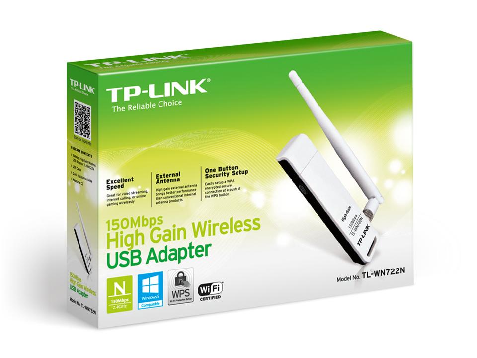 Adaptador USB Wireless N de Alto Ganho de 150Mbps - TL-WN722N
