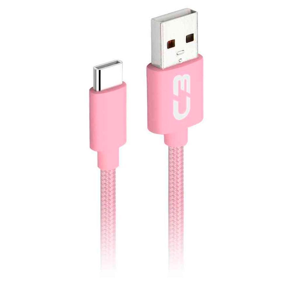 Cabo USB-C x USB, C3 Plus, 1m, Nylon, Rosa - CB-C11PK