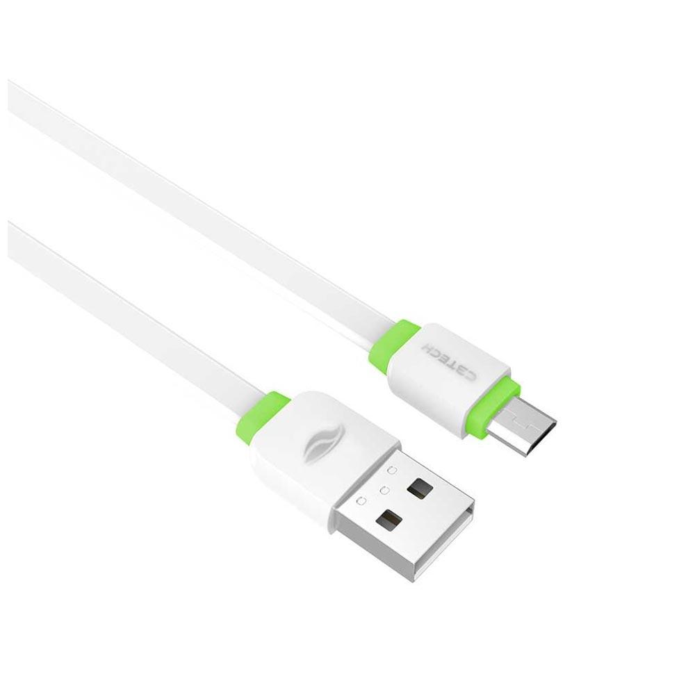 Cabo USB x Micro USB C3Tech, 1 metro - Branco/Verde - CB-100WH
