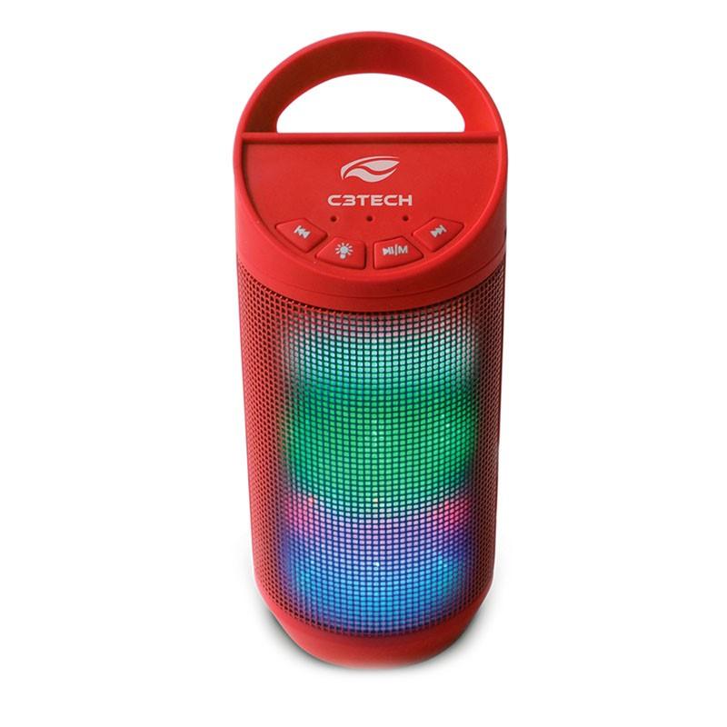 Caixa de Som Portátil Beat C3Tech Bluetooth, 8 Watts RMS, USB 2.0, WMA/MP3, Vermelho - SP-B50RD