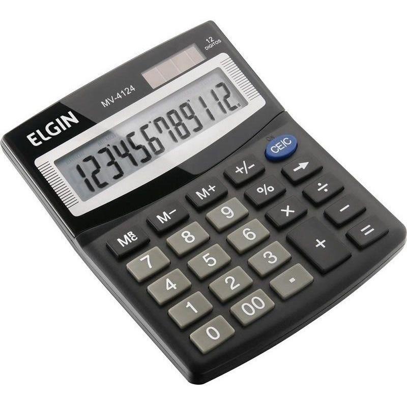 Calculadora De Mesa Elgin 12 Dígitos Preta Mv4124 - 24461