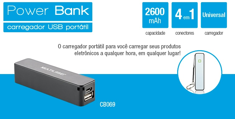Carregador Portátil Multilaser Power Bank USB 2600mAh - CB069