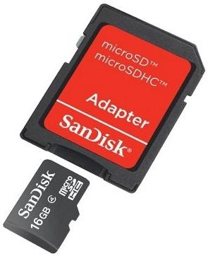 Cartão de Memória SanDisk microSDHC com Adaptador 16GB SDSDQM-016G-B35A