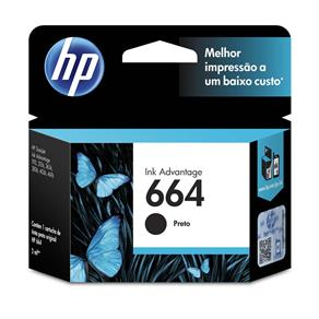 Cartucho de Tinta HP Ink Advantage 664 Preto - F6V29AB