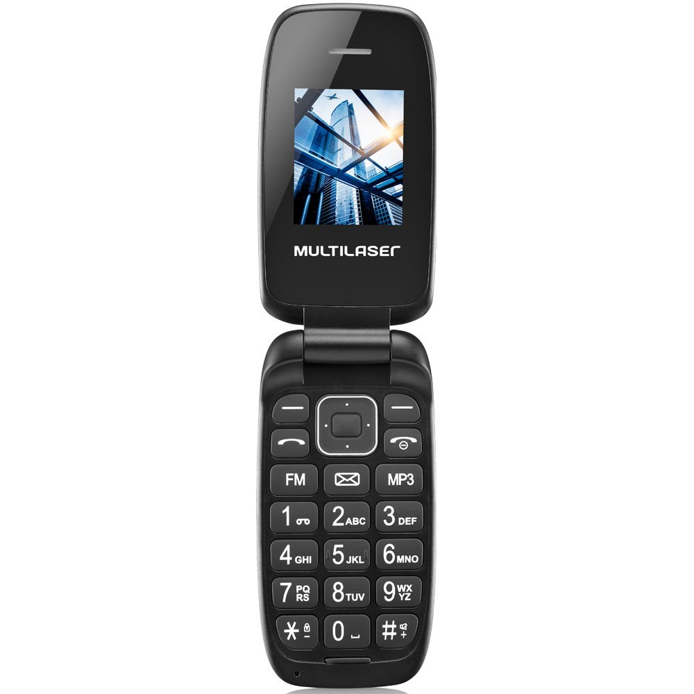 Celular Multilaser Flip Up, Câmera, MP3, Dual Chip - Preto - P9022