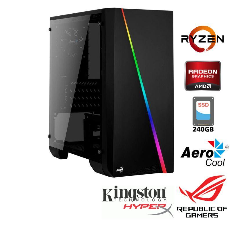 Computador Gamer AMD Ryzen R5 2600 3,4GHz - 19MB Cache - LGA AM4 - Six Core, Memória RAM 8GB DDR4,  SSD 240GB Sandisk, Placa Video ATI Radeon RX 550 4GB, Placa Mãe Gigabyte A320, Fonte 500WTS Reais