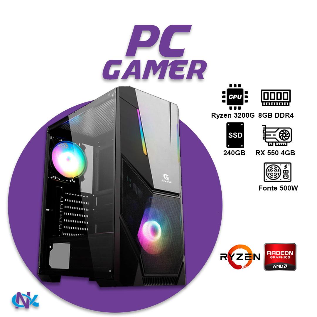 Computador Gamer AMD Ryzen R5 3200G 3,6GHz Quad Core 4MB Cache, Memória RAM 8GB DDR4, SSD 240GB Kingston, AMD Radeon RX 550 4GB 128Bits, Placa Mãe Chipset A320, Fonte 500WTS Reais