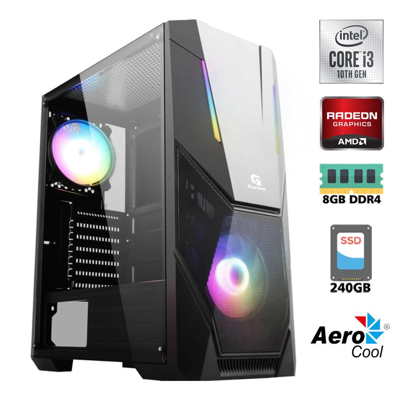 Computador Gamer Intel i3 10100F 3,6GHz 10ªth 6MB Cache - LGA 1200, Memória RAM 8GB DDR4, SSD 240GB Kingston, Placa de Vídeo Radeon RX 550 4GB, Placa Mãe H410, Fonte 500W