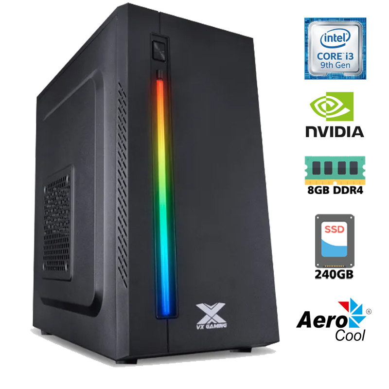Computador Gamer Intel i3 9100F 3,6GHz - 6MB Cache, Memória RAM 8GB DDR4, SSD 240GB Kingston, VGA Geforce Nvidia GT 730 4GB 128Bits, Placa Mãe H310, Fonte 500WT Reais