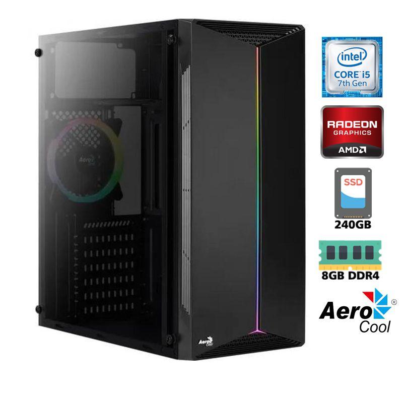 Computador Gamer Intel i5 7400 3,0GHz - 6MB Cache - LGA 1151 - 7ª Geração, Memória RAM 8GB DDR4, SSD 240GB, VGA Radeon RX 550 4GB, Fonte 500W Reais
