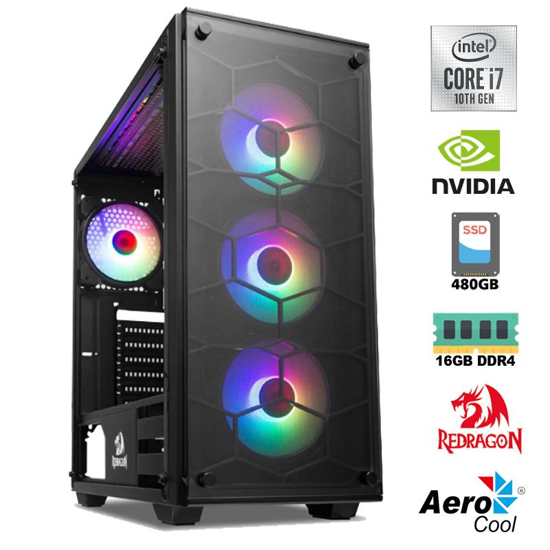 Computador Gamer Intel i7 10700F 2,9GHz - 16MB Cache - LGA 1200, Memória RAM 16GB DDR4 3200Mhz, SSD 480GB Kingston, VGA Nvidia Geforce GTX 1650 4GB DDR6, Placa Mãe B460, Fonte 600W