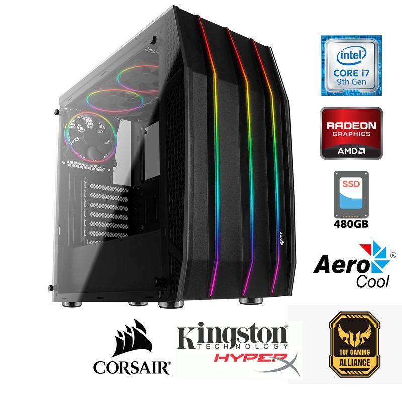 Computador Gamer Intel i7 9700F 3,0GHz - 12MB Cache - LGA 1151 - 9ª Geração, Memória RAM 16GB DDR4, SSD 240GB Kingston , VGA ATI Radeon RX 550 4GB,  Placa Mãe Gigabyte H310, Fonte 500Wts 80Plus