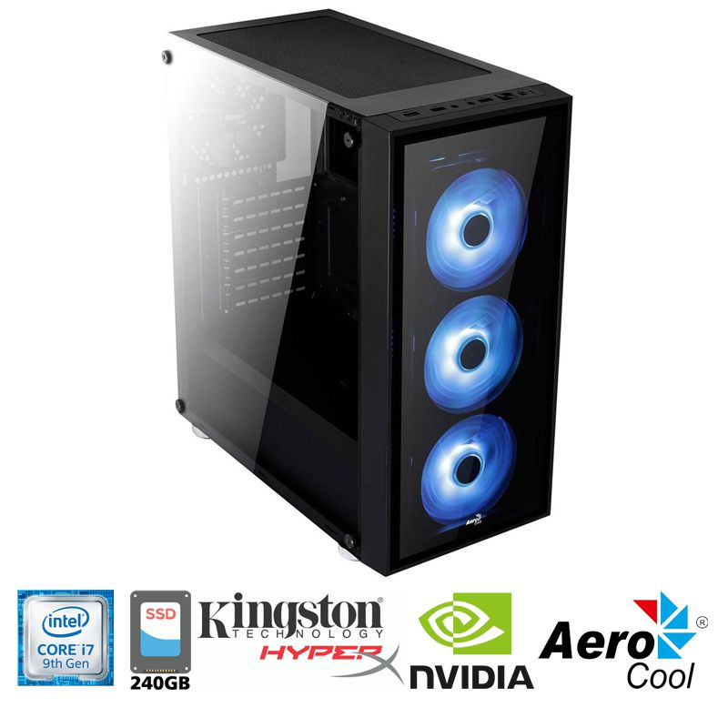 Computador Gamer Intel i7 9700F 3,0GHz - 12MB Cache - LGA 1151 - 9ª Geração, Memória RAM 16GB DDR4 HyperX, SSD 240GB Sandisk, VGA Nvidia Geforce GTX 1660 6GB, Placa Mãe Asus B360, Fonte 600WTS Reais
